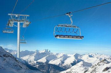 Ski lift in Snowy Winter Landscape, Val Thorens, France