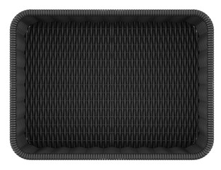 top view of empty black bread basket isolated on white backgroun