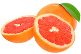 Sliced grapefruit with leaf