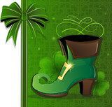 Leprechaun shoe on green background