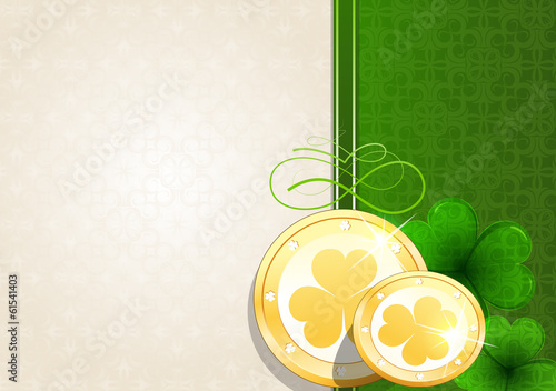 Leprechaun gold coins on vintage background