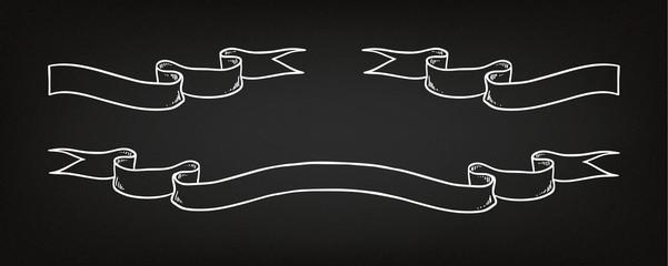 Hand drawn ribbon on the blackboard