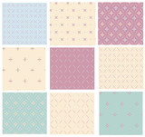 Vector set retro seamless patterns.