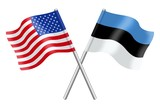 Flags : duet United States and Estonia