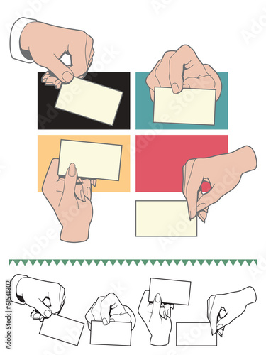 Hand holding blank card. Male and female. Set.