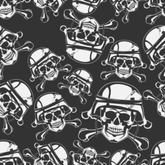 Background seamless emblem a skull in a military helmet