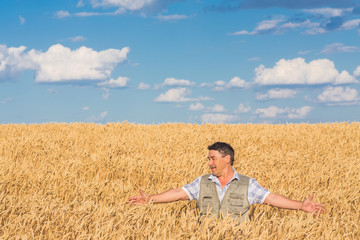 Happy smiling caucasian  old farmer standing in wheat fields
