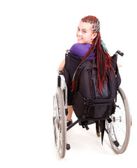 trendy girl on the wheelchair, white background