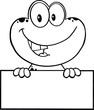 Black And White Cute Frog Cartoon Character Over Blank Sign
