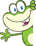 Cute Green Frog Character Looking Around A Blank Sign And Waving