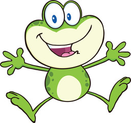 Cute Green Frog Cartoon Mascot Character Jumping