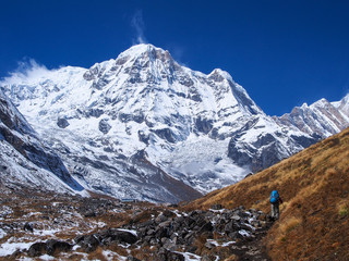 Trekker walking to Annapurna Sanctuary, Himalayas, Nepal