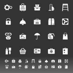 Home storage icons on gray background