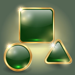 Vector set of glass button templates