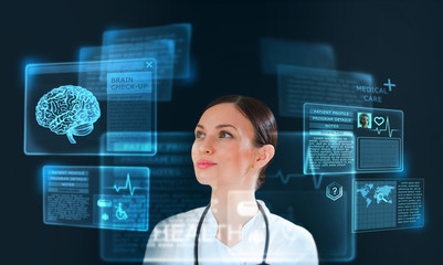 Female medicine doctor working with modern computer interface as