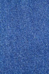 Blue denim jeans cloth as background vertical view closeup
