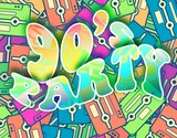 90s party retro concept, Vintage poster design poster