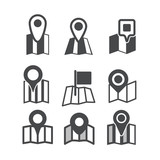 Different map web icons collection