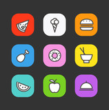 Simple style different food icons collection