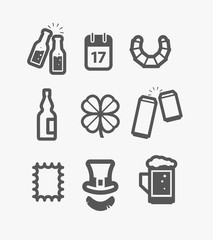 Different st Patricks Day icons set. Design elements
