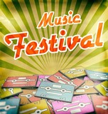 Music festival vintage poster design Retro poster