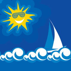 vector illustration of blue sea summer sun