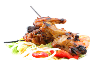 Chicken wing grill with vegetable