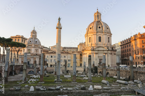 Basilica Ulpia and Trajan Column at dawn