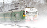 Passenger train in the snow