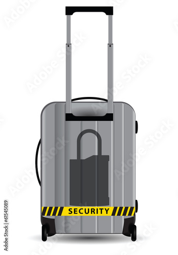 Lock symbol on suitcase