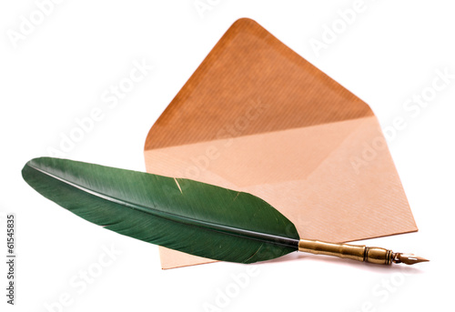 Pen and envelope isolated