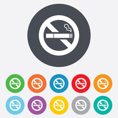 No Smoking sign icon. Cigarette symbol.