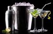 Cocktail martini and mojito on a black