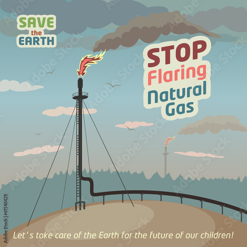 Stop flaring and venting natural gas. Eco poster