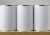 Three Tin Cans with White Labels