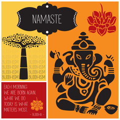 ganesha namaste buddhism vector illustration