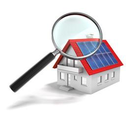 Solarhaus mit Lupe