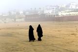 Two Arabic women are in a yashmak  in Casablanca, Morocco