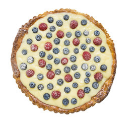 tart with raspberries, blueberries, isolated