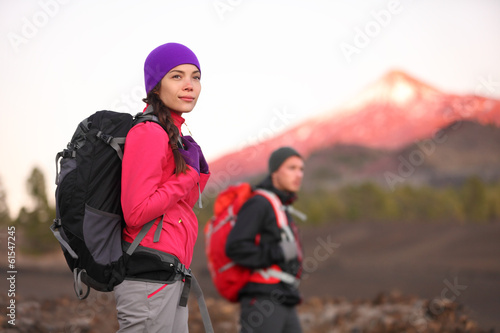 Hiking people on mountain