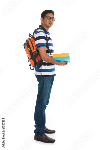 young indian college male with isolated white background
