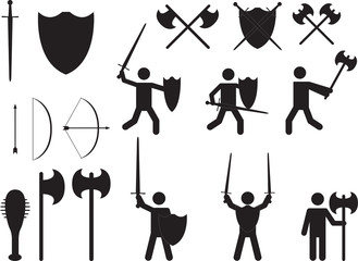 People warriors and medieval weapons