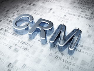 Finance concept: Silver CRM on digital background