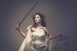 Leinwanddruck Bild - Femida, Goddess of Justice, with scales and sword