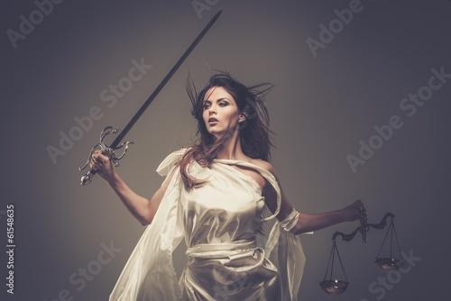 Leinwanddruck Bild Femida, Goddess of Justice, with scales and sword