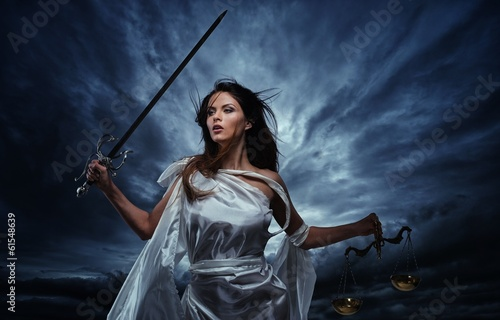 Leinwanddruck Bild Femida, Goddess of Justice, with scales and sword