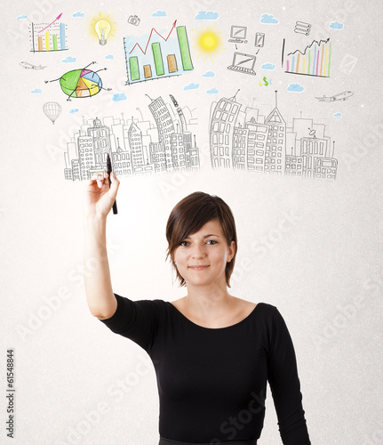Cute woman sketching city and graph icons