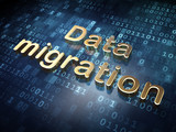 Information concept: Golden Data Migration on digital background