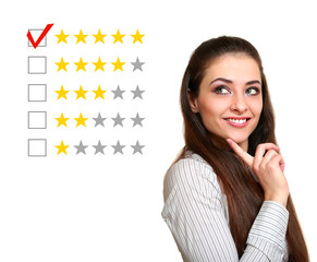 Beautiful woman choose five stars rating in feedback. Good