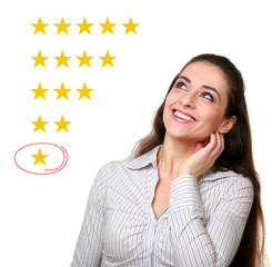 Customer woman choose one star in option. Bad feedback